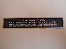 Joe Sakic Avalanche Nameplate For A Hockey Jersey Display Case 1.5 X 8