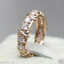 Sz10 Handmade Topaz 18k Rose Gold GF Ladies Engagement  Women Band Wedding Ring