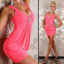 Neon Womens Bodycon Clubwear Evening Puff Sexy Party Mini Dress size 8 10 12