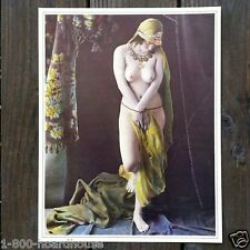 Original 1930s PLUMP NUDE SEXY LADY with Beads Art Lithograph Print NOS Unused