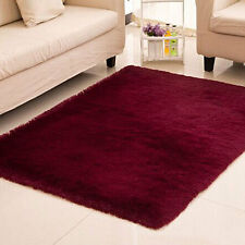 Fluffy Rug Anti-Skid Home Dining Bedroom Carpet Rectangle Floor Mat Burgundy