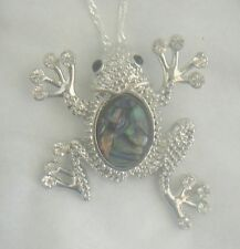 Necklace/Pendant Frog Abalone Shell new w/ chain & box rhinestone toad jumping