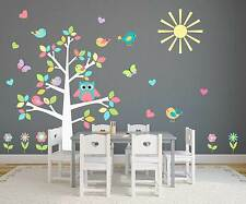 Nursery Owl Tree Pastel Wall Sticker Decal Baby Room Playroom Butterflies Birds