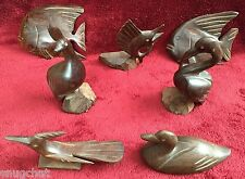Bundle of 7 Ironwood Fish and Fowl Figurines Unique Handcrafted Wood Carvings