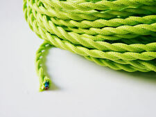 Lime  Green Braided Woven Silk Fabric Lamp Cable Wire Cord Light Electric Flex