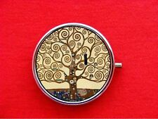 KLIMT TREE OF LIFE ART NOUVEAU PAINTING ROUND METAL PILL MINT BOX CASE
