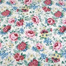 Vintage Cotton Fabric Per Yard, Wonderful Old Fashioned Rose Floral on Ivory