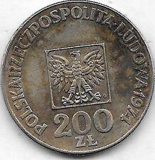 200 Zlotych argent 1974 MW voir qualité