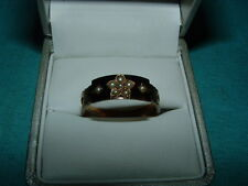 ANTIQUE MOURNING RING-9CT GOLD-BLACK ENAMEL- 8 SEED PEARLS-CUT OUT HAIR PANELS