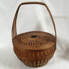 Antique Asian Bamboo Hand Woven Wedding/Food/Sewing Basket