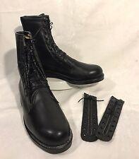 ADDISON Shoe Co Black Leather Combat Biltrite Mens 9M Boots Tie Up Zipper Insert