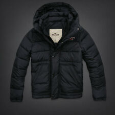 NEW Mens %HOLLISTER ABERCROMBIE% Navy Blue Hoodie Puffer Jacket Parka Coat Sz.M