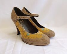 Pre-Owned DRIES VAN NOTEN Vintage Leather and Silk Heel Shoes Size 39 US 8.5/9