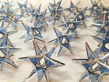 Lot of 50 !!  Stained Glass Moravian STARS Iridescent TURQUOISE  !