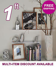 12in ultraLEDGE White Metal Floating Shelf, Picture Ledge, Photo & Art Dis​​play