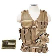 NcStar CTV2916T Tactical MOLLE LE WEB X-Draw Vest w/Pistol Holster& Patch Tan