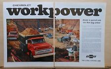 1965 two page magazine ad for Chevrolet trucks - pickups, heavy duty, Workpower