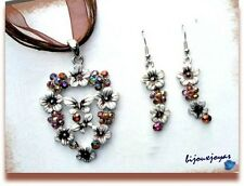 Parure Pendentif Boucles d'Oreilles Coeur Fleur Email Blanc Et Strass Multicolor