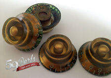 SET OF 4 AGED RELIC GIBSON TOP HAT BELL KNOBS VINTAGE LES PAUL GOLD US SIZE