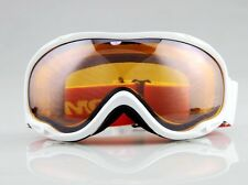 WHITE FRAME ORANGE LENS SKI SNOWBOARD GOGGLES DOUBLE LENS