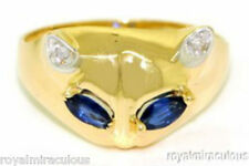 Blue Sapphire & Diamond CAT Ring 14K Yellow Gold