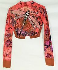 RAW 7 100% CASHMERE SWEATER SMALL Floral Embroidered Design Pink Womens S