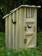 Miniature Dollhouse FAIRY GARDEN Furniture ~ Natural Wood Outhouse w/ Moon ~ NEW