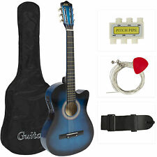 Electric Acoustic Guitar Cutaway Design With Guitar Case, Strap, Tuner Blue