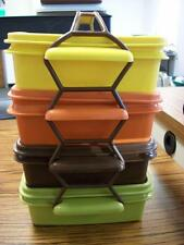 Vintage Tupperware RARE Autumn Colors 4 Piece Picnic Squares with Holder WOW