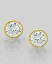 Gold Contemporary Bezel Set 6mm Clear Cubic Zirconia CZ Round Post Earrings