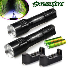 2pcs 6000LM Rechargeable Tactical CREE Q5 LED Flashlight +18650 Battery +Charger