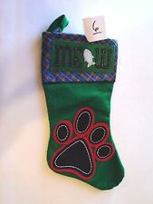 Green & Blue Plaid Cat Paws Fish Meow Christmas Pet Stocking Mantle Decoration