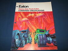 EATON HEAVY DUTY TRUCK AXLES CONDENSED SPECIFICATIONS SHOP REPAIR BOOK MANUAL