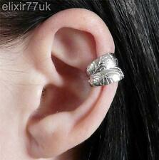 NEW SILVER LEAF EAR CUFF HELIX CARTILAGE CLIP ON EARRING PUNK GOTHIC EMO GIFT UK