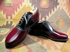 NEW VTG DEXTER TWO TONE CORDOVAN/BLACK  SADDLE OXFORD SHOES SIZE 9 N MADE IN USA