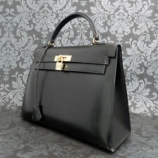 Rise-on Vintage HERMES Kelly 32 Black Leather Handbag Satchel Purse #72