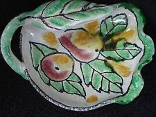 Made in Italy Hand Painted Dish/Basket With Leaf Handle and Fruit