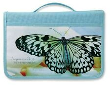 NEW Inspiration New Creation Canvas Fabric Large Aqua Book & Bible Cover by Zond