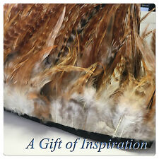 Badger saddle grizzlyRooster feathers sewn on fringe/ribbon/trim(price for 30cm)