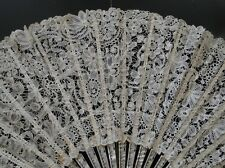 ANTIQUE LACE-CIRCA 1880'S, ORNATE BRUSSELS DUCHESSE LACE FAN W/MOTHER OF PEARL