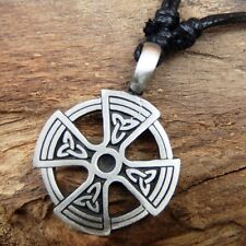 Celtic Solar Cross Irish Norse Viking Pewter Pendant And Cotton Necklace #132