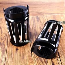 Black Deep Cut Billet Aluminum Fork Boot Slider Cover For Harley Touring 14-16