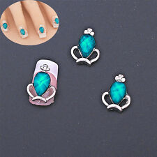 10PCS 3D Rhinestone Blue Crown Nail Art Decoration Stickers DIY Steampunk