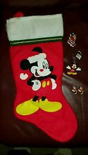 Disney Mickey mouse Christmas stocking, pin, key chain, earrings lot