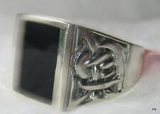 Mens 925 Sterling Genuine Black Onyx Celtic Ring Size 10 11 12