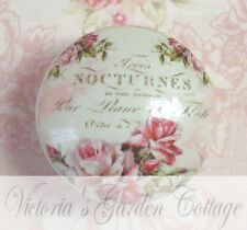 FRENCH PERFUME SCRIPT pretty pink ROSES Ceramic Knob office Cabinet Drawer Pull