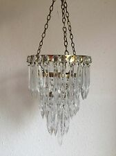 PAIR! SMALL PRETTY ANTIQUE STYLE VINTAGE CUT GLASS 3 DROP WATERFALL CHANDELIERs