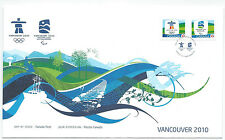 CANADA FIRST DAY COVER VANCOUVER PARA OLYMPIC &  OLYMPIC GAMES 2010 STAMPS