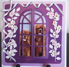 Cavalier King Charles Spaniel, hand crafted 3D window card. Ref 0001