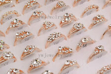 Wholesale Mixed Lots 10pcs Crystal Rhinestone Gold P Women's rings